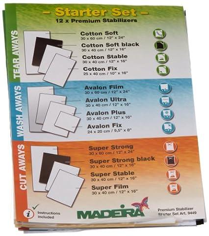 Madeira 9449 Starterset 12 Madeira Stickvliese-Testmuster, Anleitungsheft
