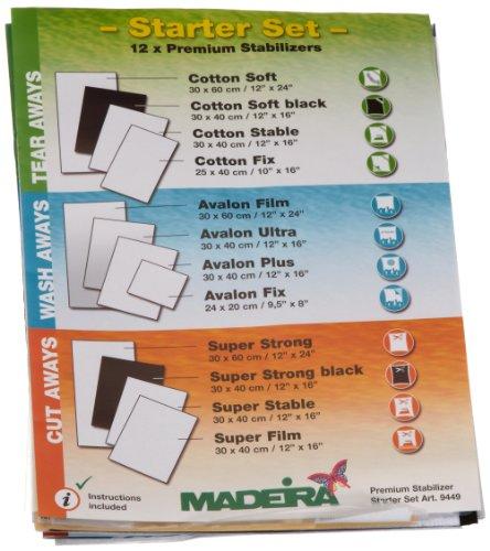 Madeira 9449 Starterset 12 Madeira Stickvliese-Testmuster, Anleitungsheft Vliesschule -
