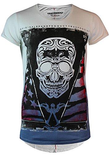 Trueprodigy T-Shirt Männer Skull weiss blau - figurbetont, fällt normal aus Ombre Blue