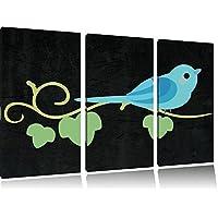 Piccolo uccello filiale nero 3 pezzi picture tela 120x80 su su tela, XXL enormi immagini completamente Pagina con la barella, stampe d'arte sul murale cornice gänstiger come la pittura o un dipinto ad olio, non un manifesto o un banner,