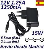 Cargador Corriente 12V 1.25A 1250mA 5.5mm 2.1mm 15W