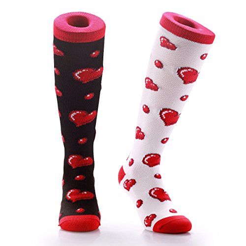 Samson Hosiery ® White & Black Hearts Funky Funny Socks Valentines Gift Novelty Fashion Sports And Casual Knee High Doughnuts For Men Women Kids Unisex