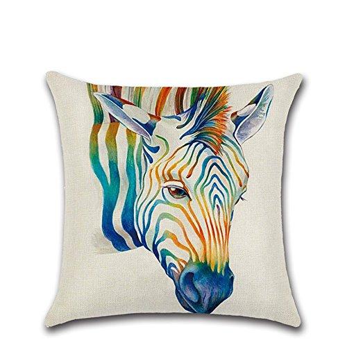 Excelsio mit 3D-Tier-Kissenhülle für Sofa Bett Wohnzimmer Schlafzimmer-Dekor, personalisierbar Baumwolle Leinen Kissenbezug Kissenhülle 45x 45cm/18x 18inch Zebra