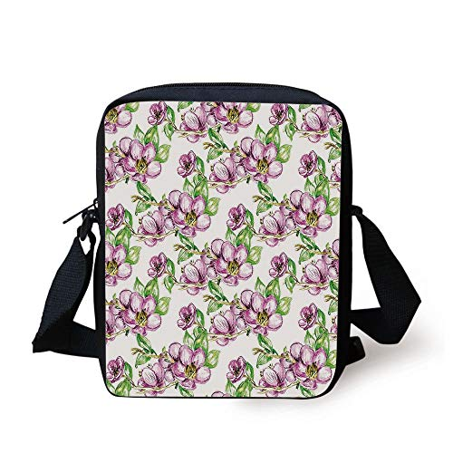 Floral,Retro Sun Figure with Grunge Effects Universe Spiritual Art Design Decorative,Lime Green Vermilion Black Print Kids Crossbody Messenger Bag Purse -