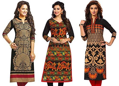 Jevi Prints Women's Kurti Fabrics (Pack Of 3) (Saheli-1204-1505-1521_Multi-Coloured)