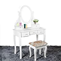 Tuff Concepts Girls White Mirrored Dressing Table Makeup Desk with chair and 5 Drawers for Bedroom
