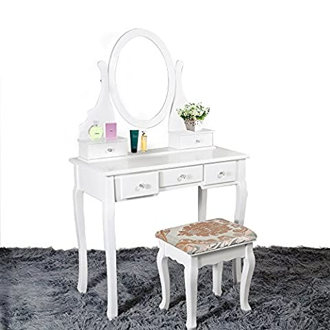White Dressing Table Makeup Desk with Stool, 5 Drawers and Oval Mirror Bedroom (White, (Camera Ovale Dresser)