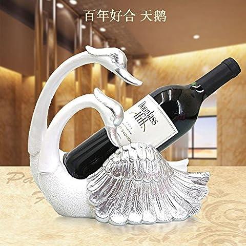 ZJWineracks Boutique de style européen ornements de luxe créatif de résine du casier à vin bar salon porte-bouteille de vin, vin rouge rack Swan