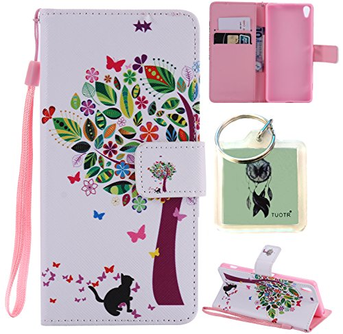 Preisvergleich Produktbild für Sony Xperia XA PU Wallet Case Schutz Hülle für Sony Xperia XA - Cover Flip Tasche mit Kartenfach in Buch Stil mit Kartenfach Standfunktion Magnetverschluss und Hand Wrist + Schlüsselanhänger (J8)