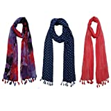 #5: FusFus Printed Designer Poly Cotton Set of 3 Mullticoloured stoles ; Trendy scarf stoles dupatta for Girls/Ladies/Women (F0162)