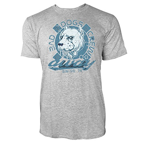 Sinus Art ® Herren T Shirt Bad Dogs Crew ( Heather_Grey ) Crewneck Tee with Frontartwork (Bad-tees Art)