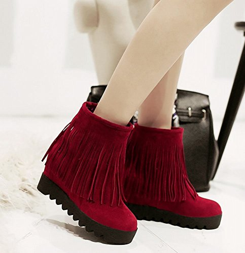Mee Shoes Damen hidden heel Quaste warm gefüttert Nubukleder Stiefel Rot