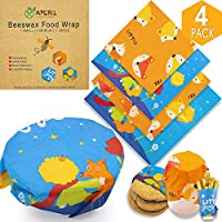 APERIL Beeswax Food Wrap & Snack Bags, Eco Friendly Gift - Zero Waste Reusable Food Wraps for Sandwiches, Organic Washable Bowl Covers (4 Pack Beeswax Food Wrap)