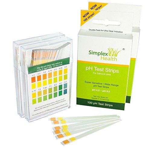 SimplexHealth PH-Teststreifen für Urin und Speichel (Doppelpack 200 Streifen) (mit kostenloser Säure und Basen Lebensmitteltabelle als pdf) -