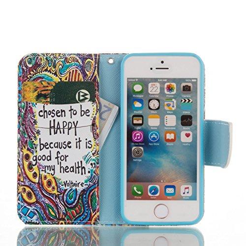 iPhone SE Hülle, iPhone 5S Hülle, iPhone 5 Hülle, SainCat PU Leder Hülle Tasche Handyhülle im Bookstyle Brieftasche Case Premium Design Luxus Weich Ledertasche mit [Kartenfach] [Standfunktion] [Magnet Gemaltem Glücklichem