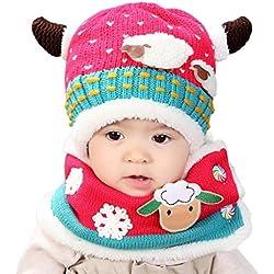 Vovotrade Bufanda de punto de impresión de estrella de niños de bebé + Sombrero (rosa caliente)