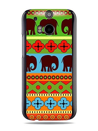 """GRÜV Premium Case - Design """"Afrikanische Elefanten, Tribalkunst"""" - Qualitativ Hochwertiger Druck Schwarze Hülle - für HTC One M8 2014"""