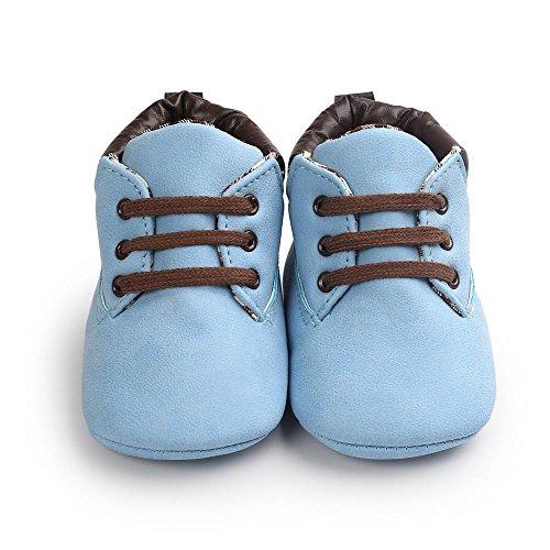 Zhen+zhen Mode Freizeit Leder Babyschuhe - Antirutsch Krippeschuhe Kinderschuhe, Unisex-Baby Mädchen Junge Princess Kleinkind Schuhe Krabbelschuhe Wanderschuhe für 0-18Monate (0-6M, Blue)
