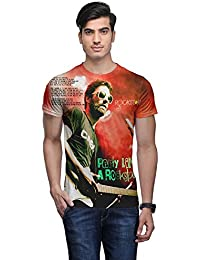 Wear Your Mind Multi-Coloured Poly Cotton Round Neck Printed T-shirt For Men CST063