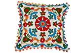 Trade Star Suzani Embroidered Pillow Covers Decorative, Bohemian Cushion Covers 16x16 Pillow, Pom Pom Throw Pillows, Cotton Pillowcases