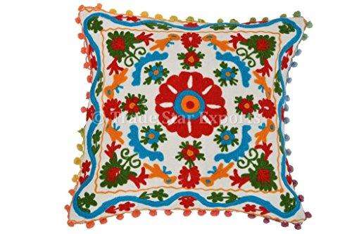 Trade Star Suzani fundas de almohadas bordadas decorativas, cojines bohemio almohadas 16x16, almohadas...