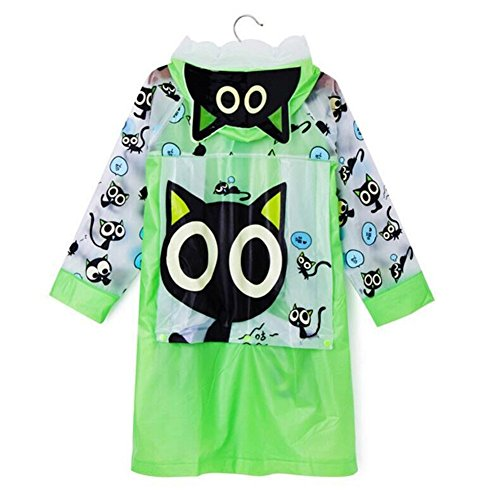 Highdas Children Thick Inflatable Cartoon Raincoat with Schoolbag Place Kids Poncho