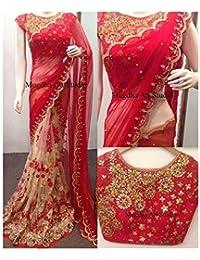 Mayur Silk Mills Red Embroidered Half&half Georgette Saree With Unstitchd Blouse Piece