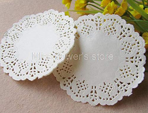 Mats & Pads - 100 Pcs 4.5 Inch White Round Paper Pad Hollow Of Flower Backing Lace - Foam Memory Electronic Cotton Mats Pads Paper Placemat Cake Lace Artificial Flower Round Clothese Doily Sil -