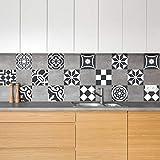 Ambiance-Live 24Pegatinas, Adhesivos con diseño Azulejos - Mosaico de Azulejos murales de baño y Cocina   Baldosas Adhesivas, diseño auténtico Blanco y Negro, de10x 10cm–24Unidades.