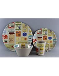 Leisurewize Luggage 16pc 100% Melamine Dinner Set Free Mug Holder by Leisurewize