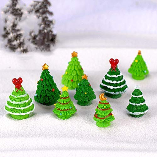 VPlus 10 Stücke Weihnachtsbaum Micro Landschaft Ornament Weihnachtsbaum Dekoration Harz Handwerk Garten Sand Topfpflanzen Handwerk für DIY Nette Dekoration