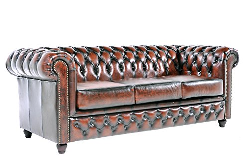 Chesterfield Showroom - Original Chesterfield Sofa / Couch - 1+3-Sitzer - Echtes Leder handgewischt - Antik-braun - 4