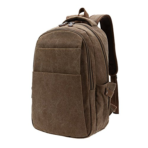 TININNA Vintage Retro tela Zaino Backpack Satchel Sacchetto di scuola Schoolbag Brown Brown