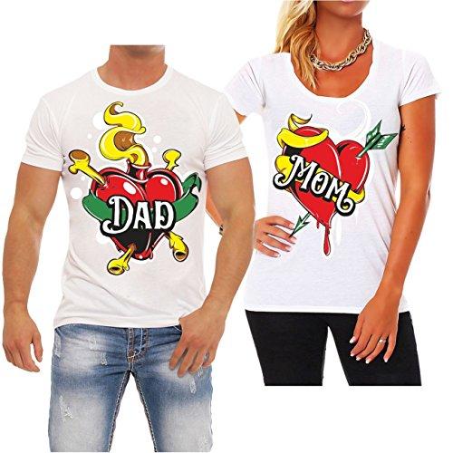 Partnershirt DAD & MOM FRAU weiß