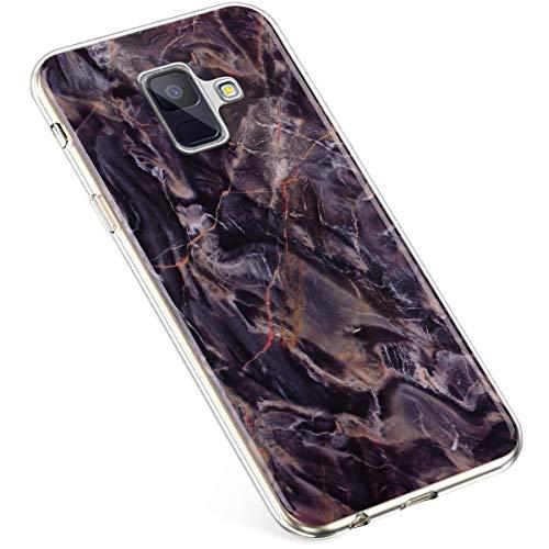 Uposao Kompatibel mit Samsung Galaxy A8 2018 Hülle Silikon Transparent Silikon Schutzhülle Durchsichtig Kratzfest TPU Bumper Crystal Clear Case Cover Handytasche Handyhülle,Marmor Kaffee