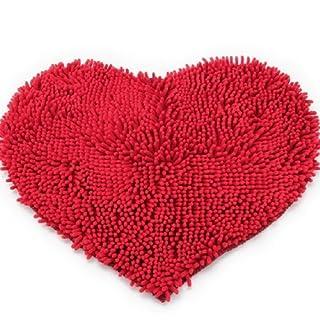 Akooya Heart Shaped Soft Fluffy Rug Bathroom Bedroom Carpet Mat RED