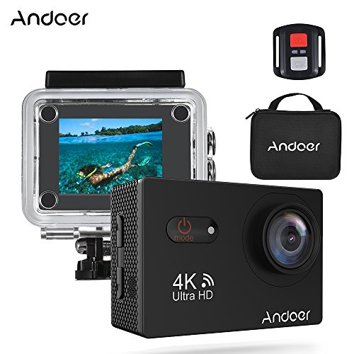 "Andoer AN9000R 16MP WiFi Action Camera 4K Sports Waterproof 2"" Touchscreen 1080P Ultra HD w/Case Support Slow Motion Drama Photo"