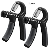 KEKU 2 Pieces of Hand-Held Grip Best Hand Exercise with Adjustable Resistance Range 22 to 88 pounds Wrist Finger Forearm Strength Anti-Skid Grip for Athlete Pianist Children (CLACK)