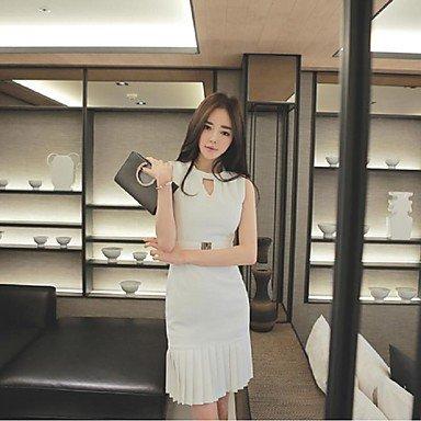 PU&PU Robe Aux femmes Gaine Simple,Couleur Pleine Col Arrondi Au dessus du genou Coton / Polyester WHITE-L