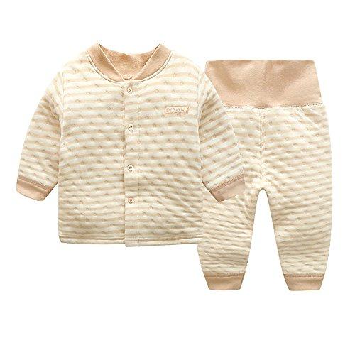 ThreeH Baby Jungen Langarm T-Shirt Top und Hosen Outfit Set BR1010,Khaki -