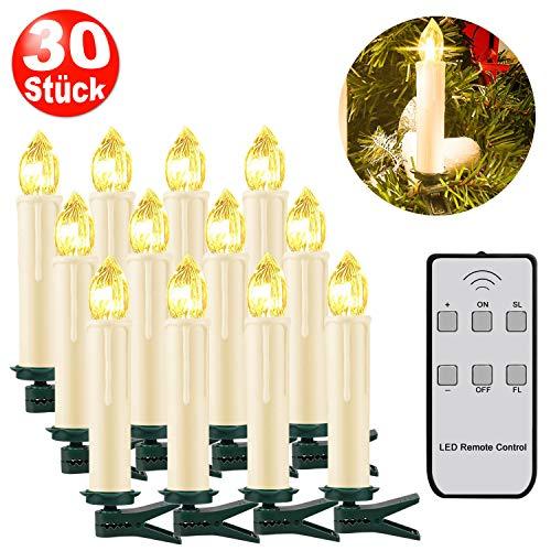 SZILBZ 30Stk Weihnachten LED Kerzen Lichterkette Weihnachtsbaumkerzen weihnachtskerzen Christbaumkerzen mit Fernbedienung Kabellos