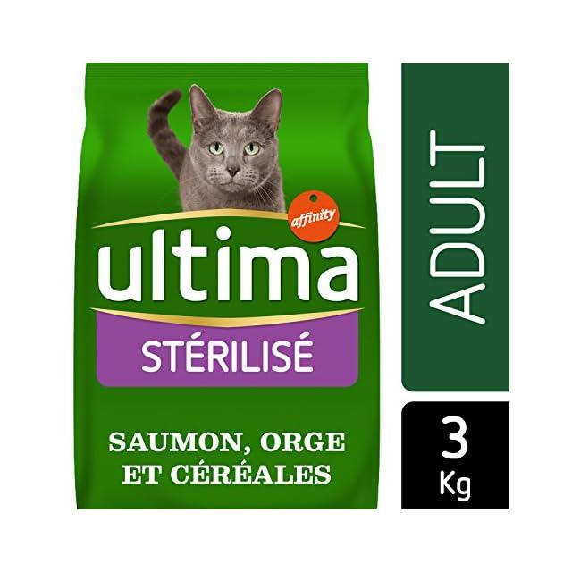 Ultima Croquettes pour Chat Adulte Stérilisé Saumon et Orge 3 kg