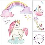 artpin 4er Einhorn Bilder Set Dekoration Kinderzimmer - A4 Poster Regenbogen Rosa Babyzimmer - Deko Mädchen P55