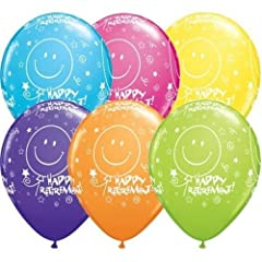Idea Regalo - Qualatex pensione Sorriso face-a-tour 27.9 cm Palloncini In Lattice (tropicale vari, pacchetto di 5)