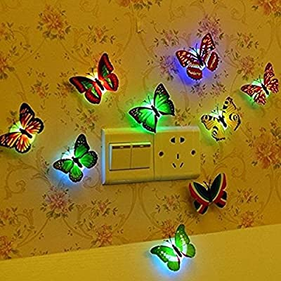 Hosaire 5 PCS Creative Lamp Flashing Colorful Butterfly Night Light Wall Stickers Lamp LED Decorative Night Lights For Party Room Wedding Decorations(Random Color) produced by Hosaire - quick delivery from UK.