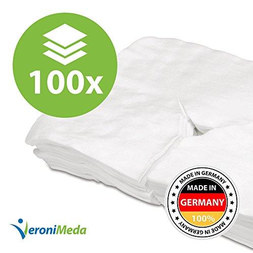 VERONIMEDA Nasenschlitztuch (100 Stk - Y-Schnitt XXL) / Gesichtsauflage (40x30cm) / Massageliege Auflage aus Spunlace (60g/m²) / Kopfstützenbezug (Einwegauflage) / Kopfteil Bezug (Einmal Auflage)
