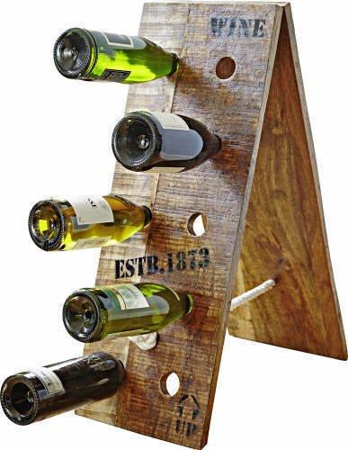 Weinregal vintage Design aus Holzca. 69x26 cm für 10 Weinflaschen IO