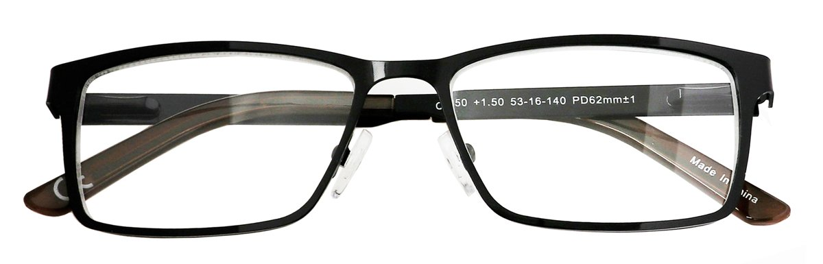 3.00 Amcedar 5-Pack Reading Glasses Men Metal Frame Rectangle Style Stainless Steel Material Spring Hinges Includes Computer Readers
