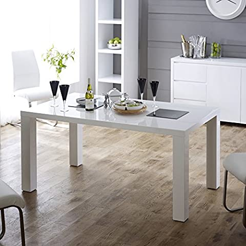 White High Gloss Rectangular 6 Seater Dining Table