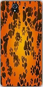 Snoogg Dog Paws Orange Background Designer Protective Back Case Cover For Son...